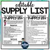 EDITABLE Classroom Supply List