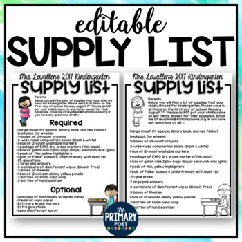 EDITABLE Classroom Supply List