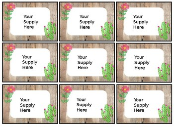 Editable Classroom Supply and Name Labels