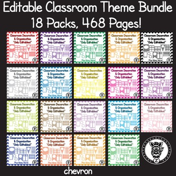 Editable Classroom Theme / Decor / Organization Bundle - ALL COLORS