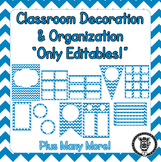 Editable Classroom Theme / Decor / Organization Bundle - Blue