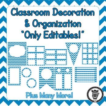 Editable Classroom Theme / Decor / Organization Bundle - Blue