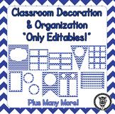 Editable Classroom Theme / Decor / Organization Bundle - Dark Blue