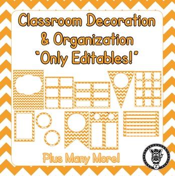 Editable Classroom Theme / Decor / Organization Bundle - Orange