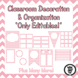 Editable Classroom Theme / Decor / Organization Bundle - Pink