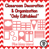 Editable Classroom Theme / Decor / Organization Bundle - Red