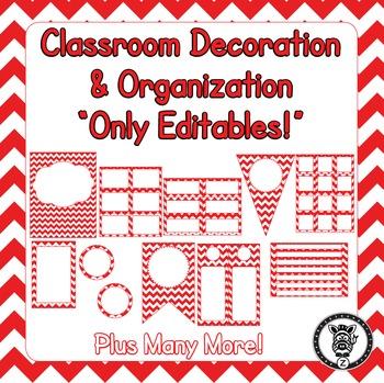 Editable Classroom Theme / Decor / Organization Bundle - Red