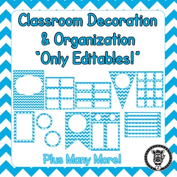Editable Classroom Theme / Decor / Organization Bundle - Sky Blue