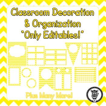 Editable Classroom Theme / Decor / Organization Bundle - Yellow