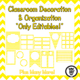 Editable Classroom Theme / Decor / Organization Bundle - Yellow