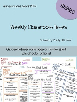 Classroom Times Editable