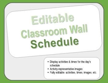 Editable Classroom Wall Schedule