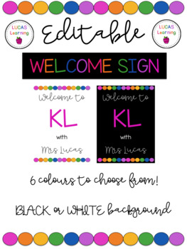 Editable Classroom Welcome Sign