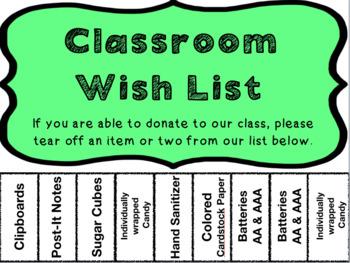 Editable Classroom Wish List Tear Off