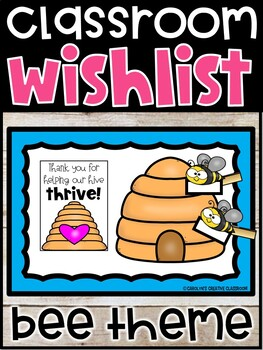 Editable Classroom Wishlist Bulletin Board | Bee Theme Wish List Donation