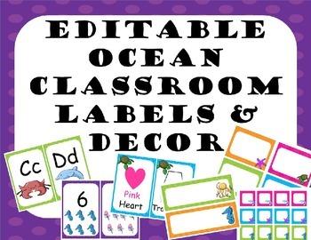 Editable Classroom Ocean Labels and decor