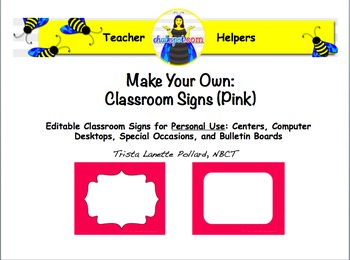 Editable Classroom and Computer Signs (Hot Pink)