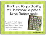Editable Classroom coupons & storage labels