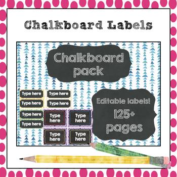 Editable Classroom labels - Chalkboard