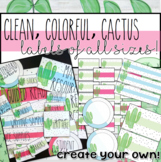 Editable - Clean, Colorful, Cactus Labels of all sizes!
