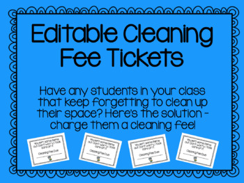 Editable Cleaning Fee Tickets