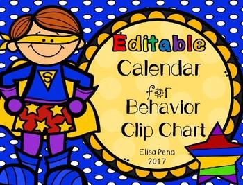 Editable Clip Chart Calendar Log