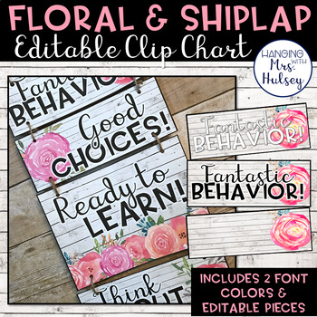Editable Clip Chart (Floral and Shiplap)