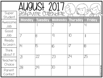 Editable Clip Chart and Behavior Calendars