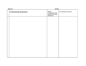 Editable Close Reading Template