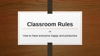 Editable Clossroom Rules PowerPoint