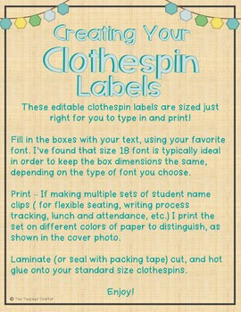 Editable Clothespin Labels