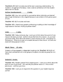 Editable Co-teaching Lesson Plan