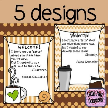 Editable Coffee Themed School Counseling Program Info and Welcome for New Staff
