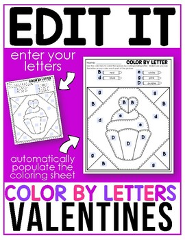 Editable Color By Code - Letters- Valentine's Day