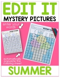 Editable Color By Sight Word Mystery Pictures - Summer- Di