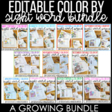 Editable Color By Sight Word and Sentence Growing Bundle