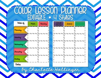 Editable Color Lesson Planner [4 styles to choose from]
