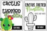 Editable Color and Black and White Cactus Themed Newslette