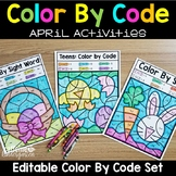 Editable Color by Code April - Easter Earth Day Spring