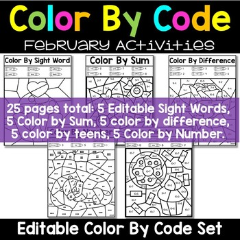 Editable Color by Code February - Valentine's Groundhogs Day Chinese New Year
