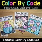 Editable Color by Code February - Valentine's Groundhogs D