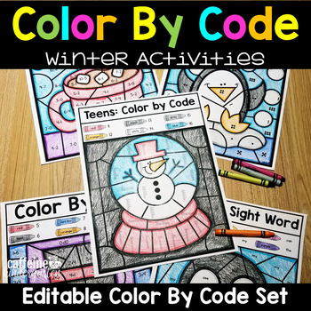 Editable Color by Code January - Winter Themed