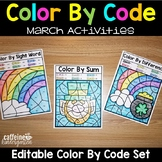 Editable Color by Code March - St. Patrick's Day Spring Read Across