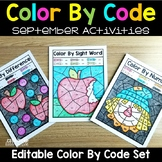 Editable Color by Code September - Apple Fall Activities