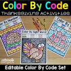 Editable Color by Code Thanksgiving