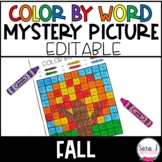Editable Color by Sight Word Mystery Picture   Fall Version