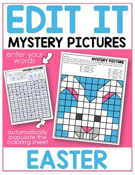 Editable Color by Sight Word Mystery Pictures - Easter - Distance Learning