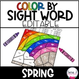 Editable Color by Sight Word - Spring Version