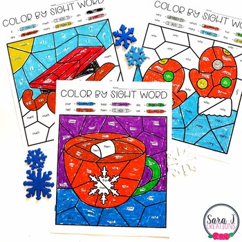 Editable Color by Sight Word - Winter Version