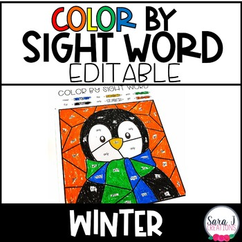 Editable Color by Sight Word Winter Version